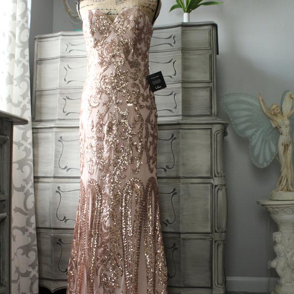 873bcdc6 Lulu's Dresses   Lulus Bariano Rebecca Rose Gold Sequin Dress   Poshmark
